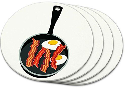 """Custom & Cool {4"""" Inches} Set Pack of 4 Round """"Flat & Smooth Texture"""" Large Drink Cup Coaster Made of Plastic w/ Cork Bottom & Skillet Breakfast Design [Colorful Red, White, Black & Yellow] mySimple Products"""
