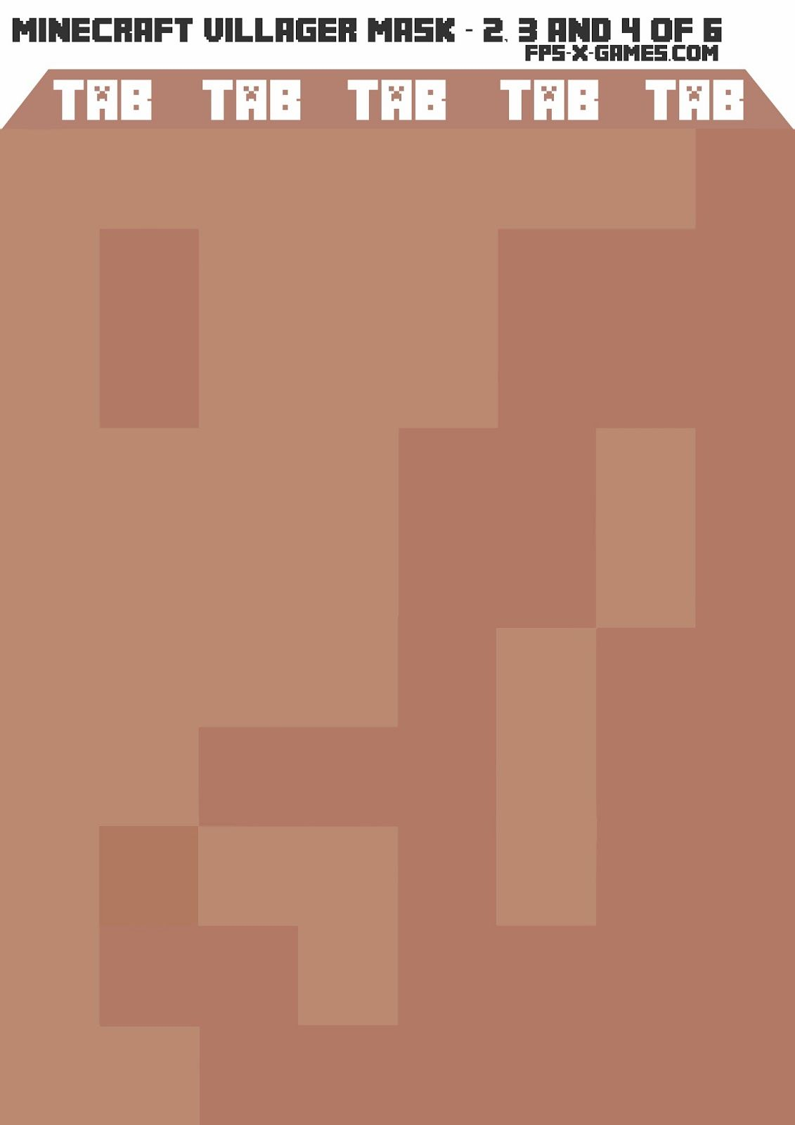 Minecraft Villager Mask Template 2 3 And 4 Minecraft