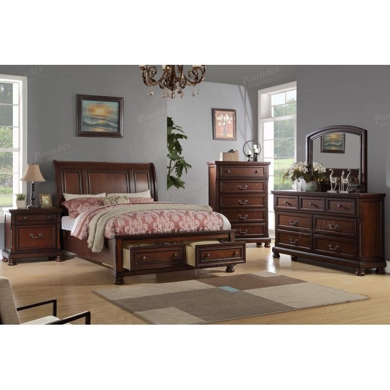 5 pc alician collection brown cherry finish wood queen curved back