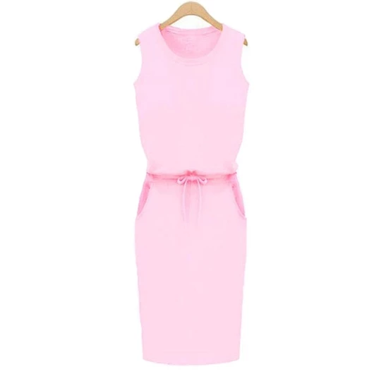 pink all sizes, cotton dress with pockets Pencil dress