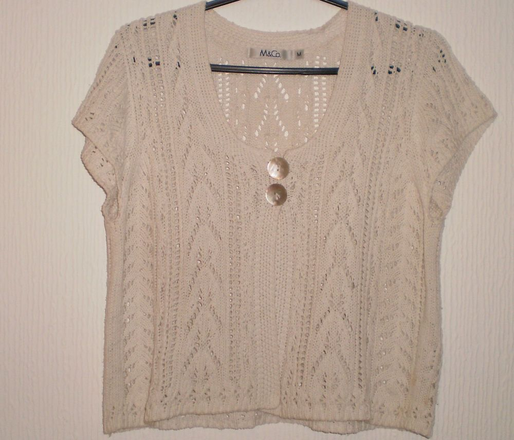 e2252d81766 M CO Ivory White Cropped Knit Jumper Cardigan Shrug Bolero Top Size M UK  SELLER