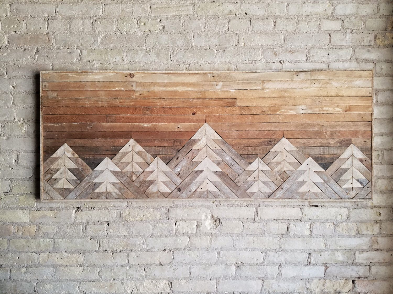 Reclaimed wood wall art wall decor wood art queen headboard wall art mountain art gradient sky rustic decor modern 61x24