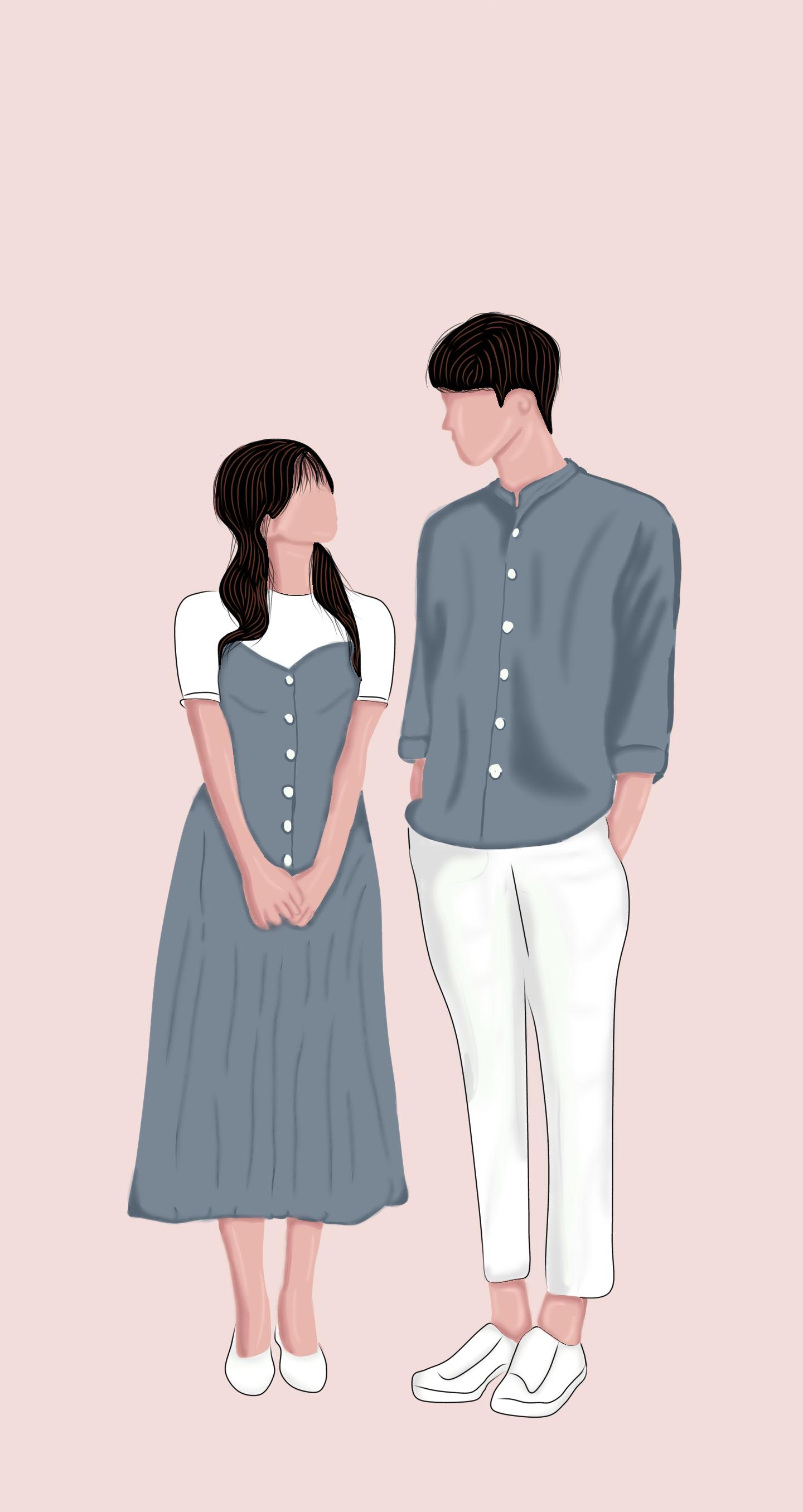 Vector Art Couple Wattpad Cover Ilustrasi Potret Gadis Animasi Gambar Pacar