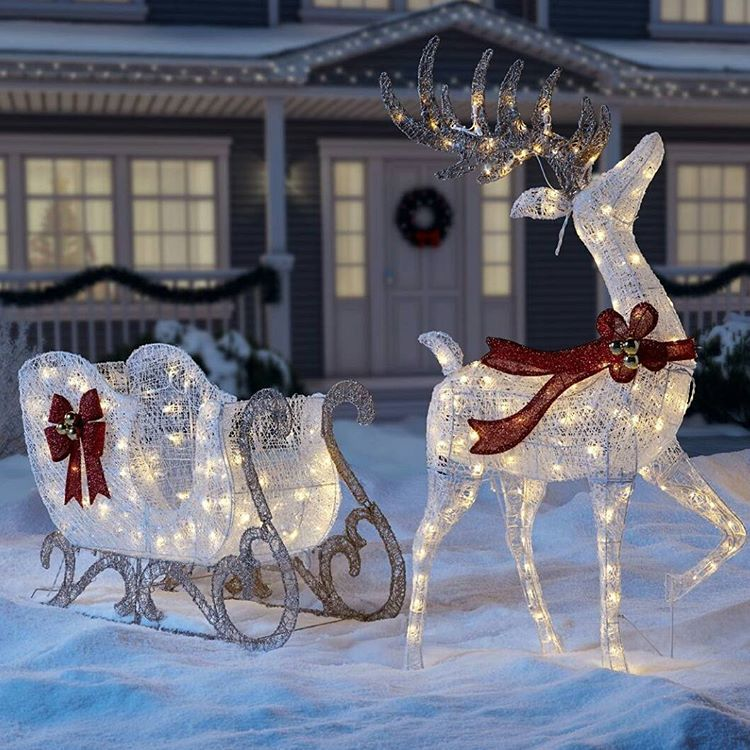 Sleigh Reindeer Outdoors Decor Decoration Lights Bows
