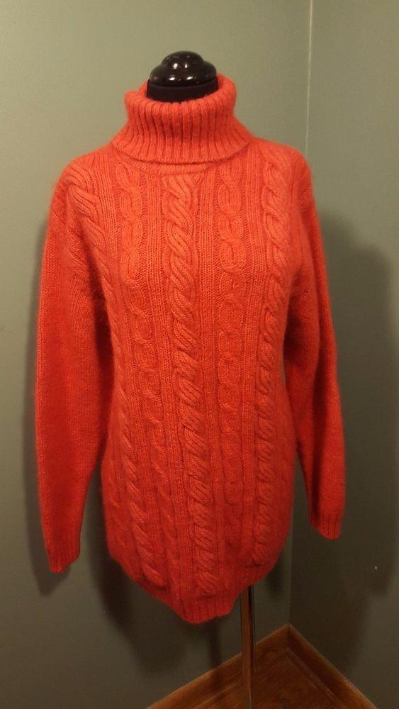 Nagpal Tangerine Orange Mohair Wool Cableknit Oversized Turtleneck ...
