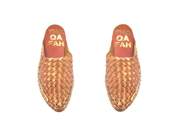 19d0fdb058d1f Leather Woven mules, women's Huaraches mule (rosegold) | Thaqafah ...