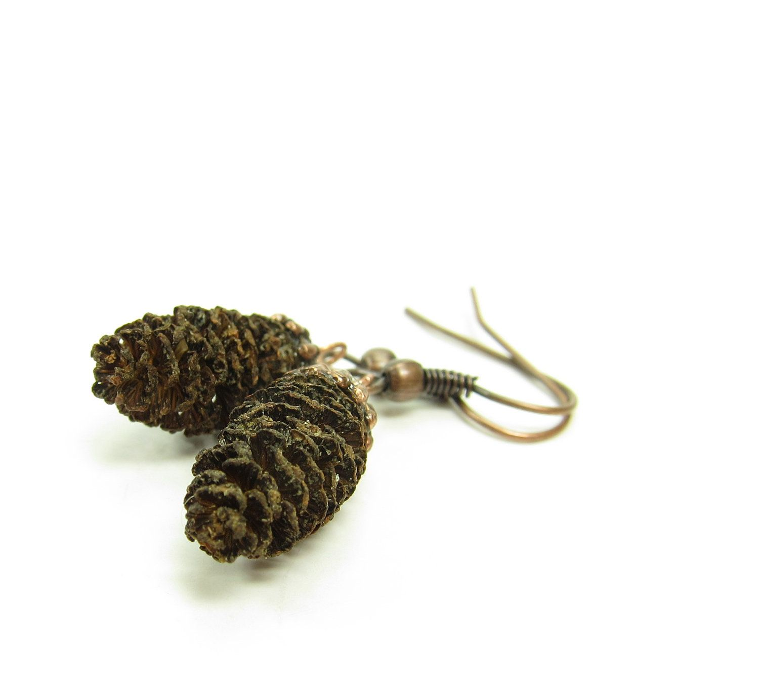 Pine Cone Earrings Real Miniature Brown Pinecones On Copper Ear Wires 15 00 Via Etsy Pine Cone Crafts Silver Bead Caps Sweetie Gift