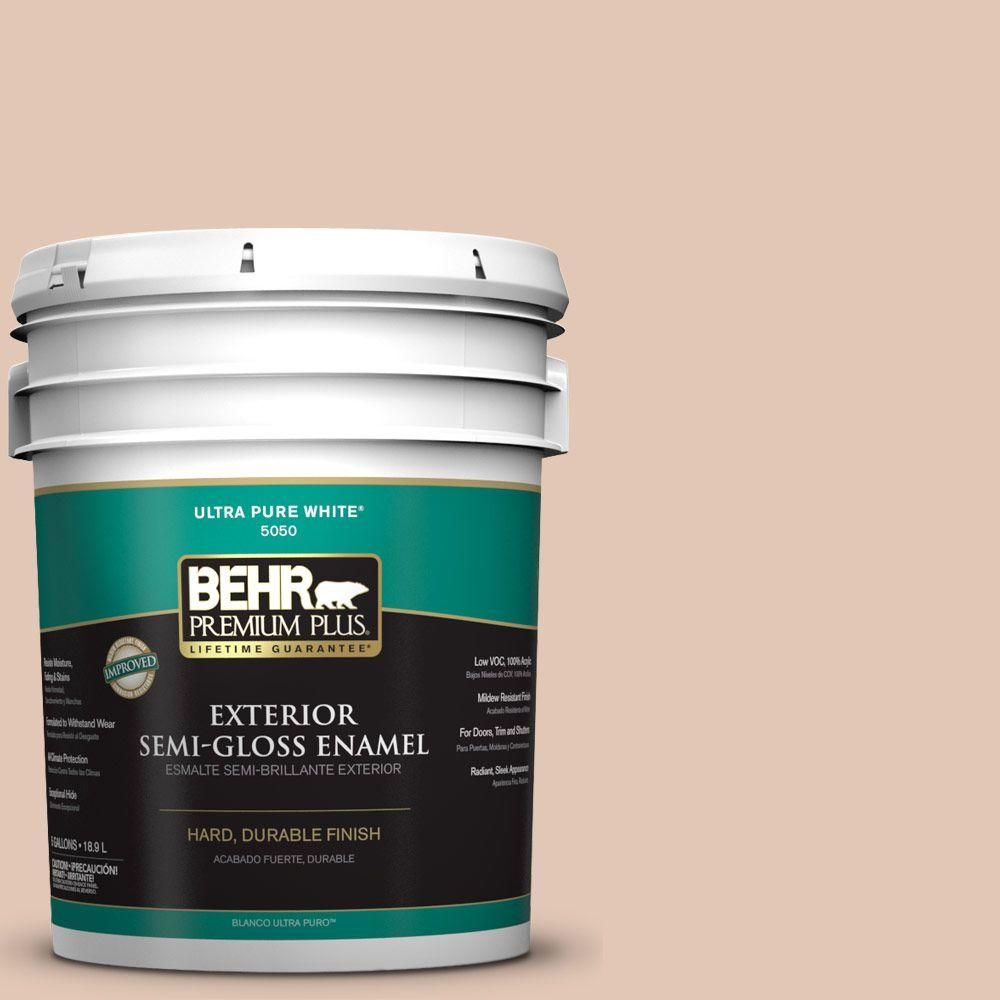 BEHR Premium Plus 5-gal. #S210-2 Tapestry Beige Semi-Gloss Enamel Exterior Paint