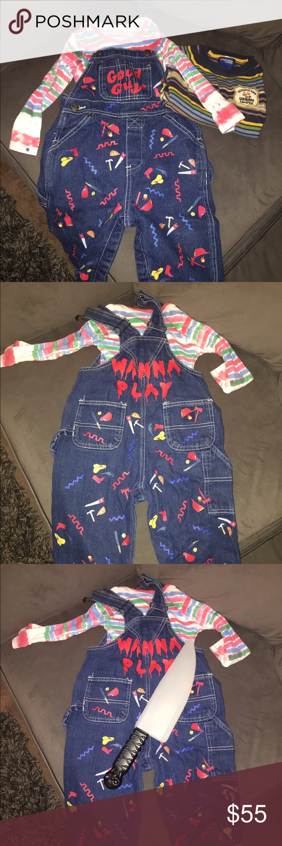 9f0f460c Chucky Costume/Child's play! Toddler size 18/24 Child's play costume, knife  & orange hair spray included. Other