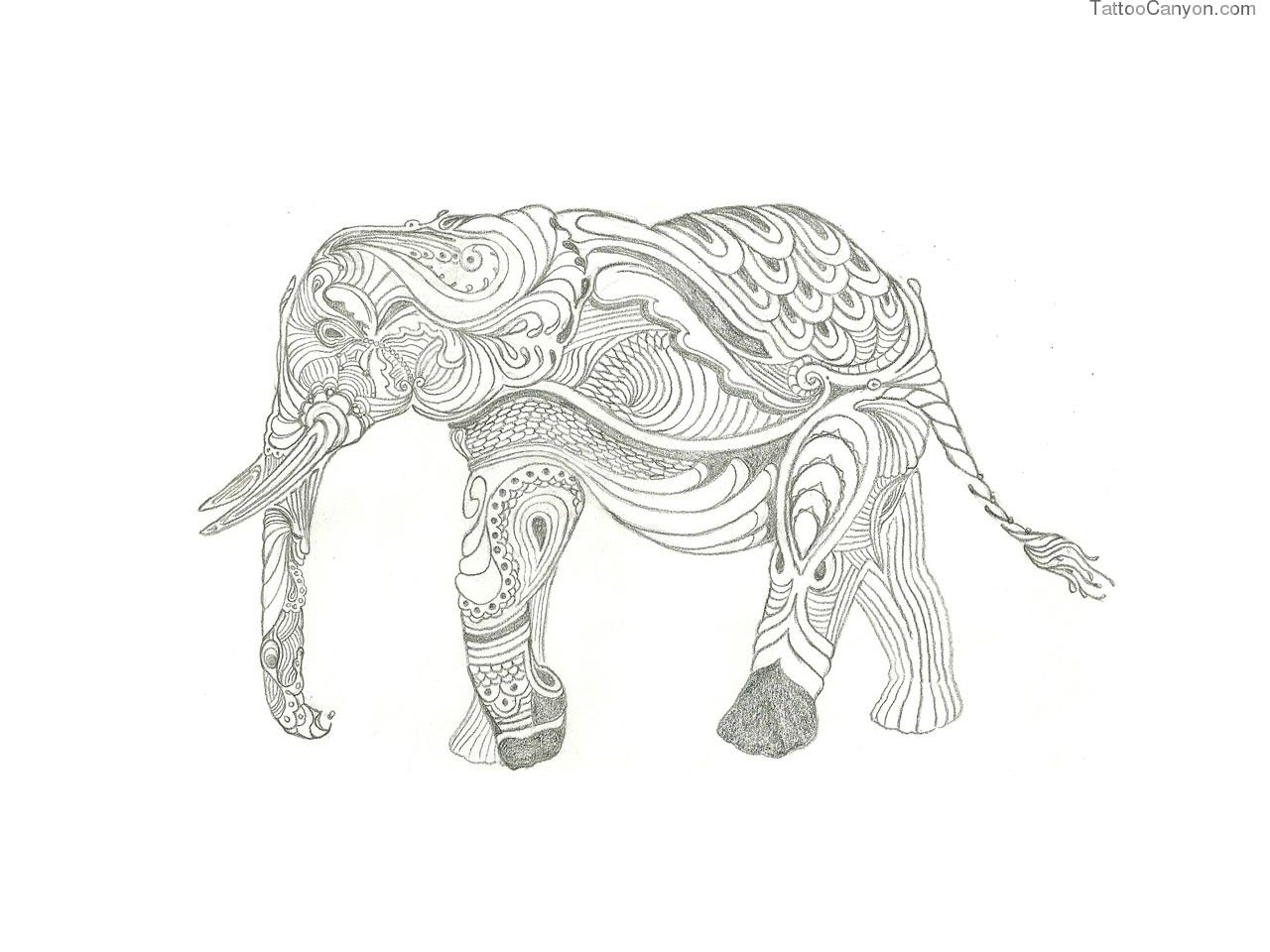 Free Designs Indian Elephant With Ornaments Tattoo Wallpaper Picture 7195