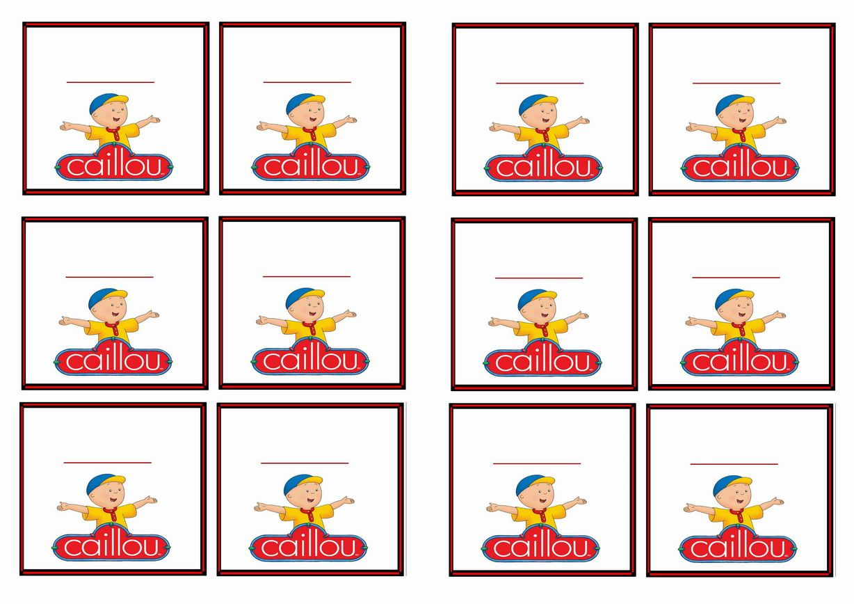 FREE printable Caillou themed Name Tags   Angel\'s Birthday\'s ...