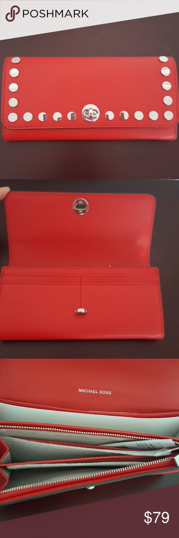 61b0752ec695 Michael Kors Rivington Stud Large Wallet ✓Authentic ✓New with tag ✓Derby  Luxe Leather