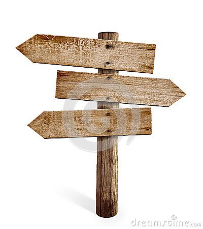 Wooden Arrow Sign Post Or Road Signpost Isolated Church Wooden