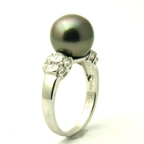 Tahitian Pearl Engagement Ring - A classic design comes on this adorable Tahitian Pearl Engagement Ring stamped in 18k White Gold featuring a Light Mystic Topaz colored Pearl set on the top of the ring with White Baguette accent stones on the top portion of the custom shank. This fascinating Tahitian Pearl ring is 10.4mm in diameter & the total gem weight is equal to .46 carats. #unusualengagementrings