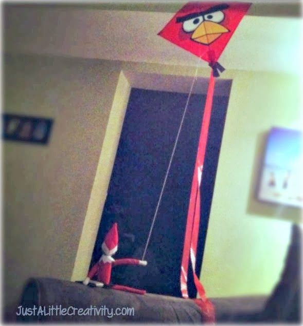 Elf on the Shelf perfecting his indoor kite flying skills....Just A Little Creativity: