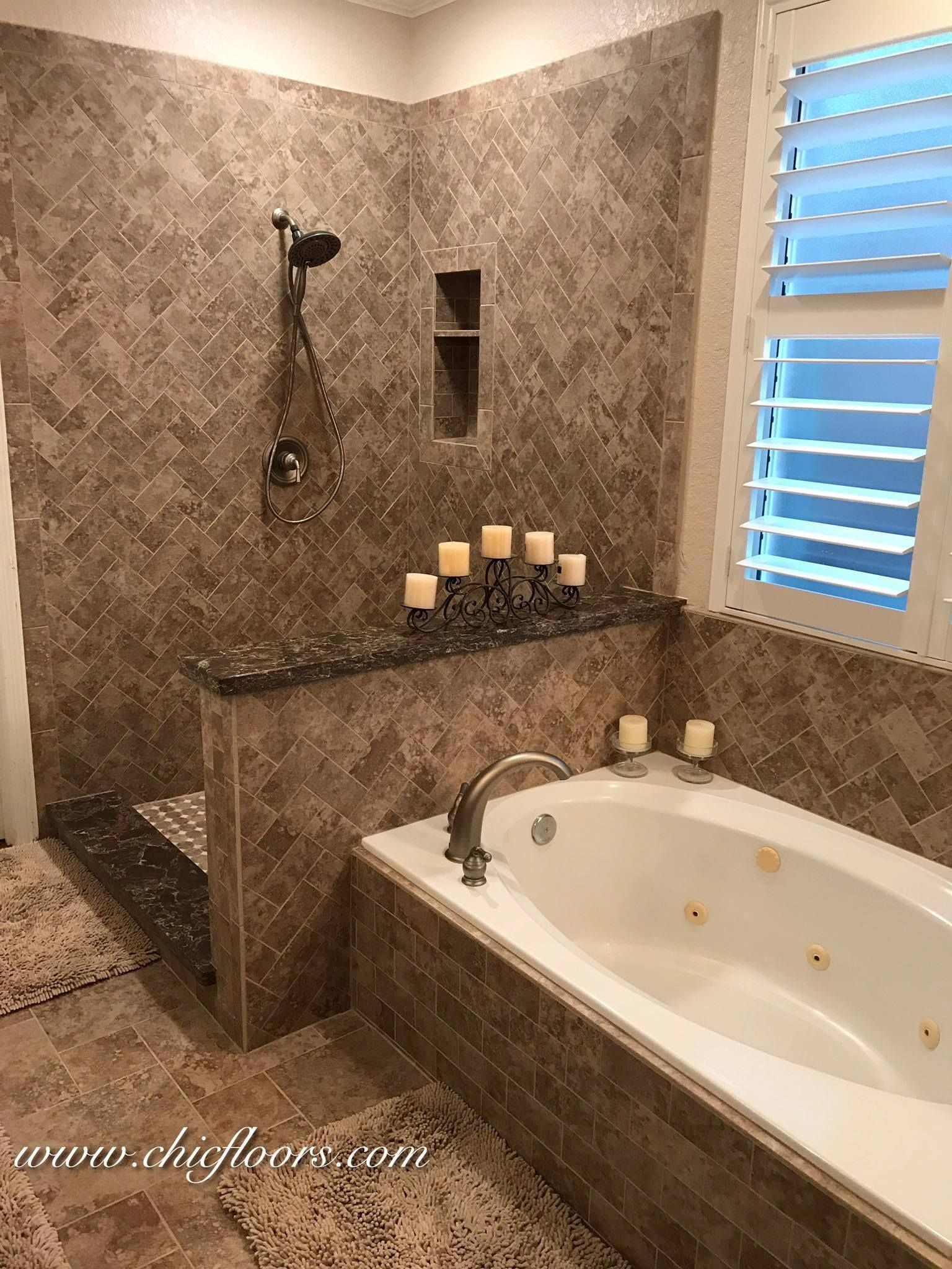 marazziusa Campione porcelain tile installed in various sizes on ...