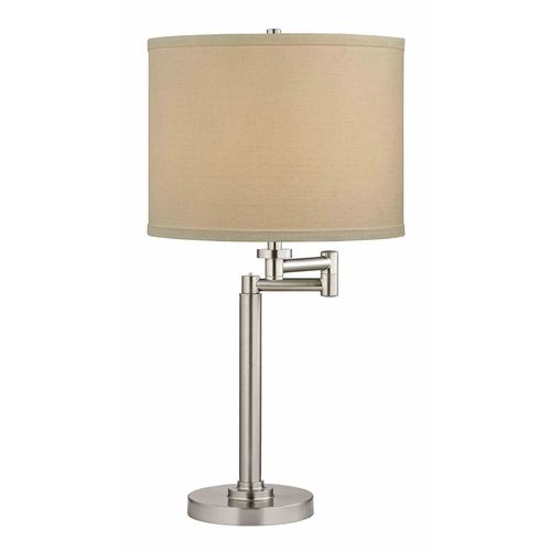 Pauz Swing Arm Table Lamp With White Linen Lamp Shade At Destination Lighting Linen Lamp Shades Lamp Table Lamp