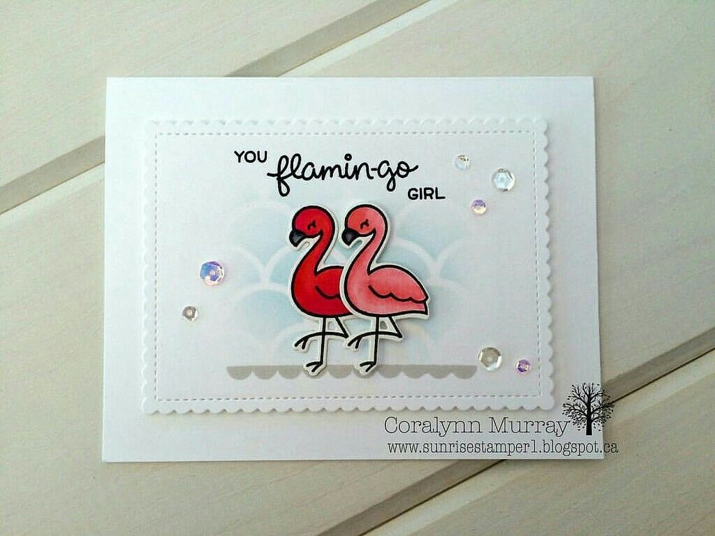 Lawn Fawn Flamingo Together; soft; white and pink; pair; love; MFT cascading scallop stencil