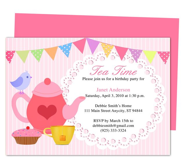 Afternoon Tea Party Invitation Party Templates Printable DIY Edit In Word,  Publisher, Apple IWork  Party Invitation Template Word