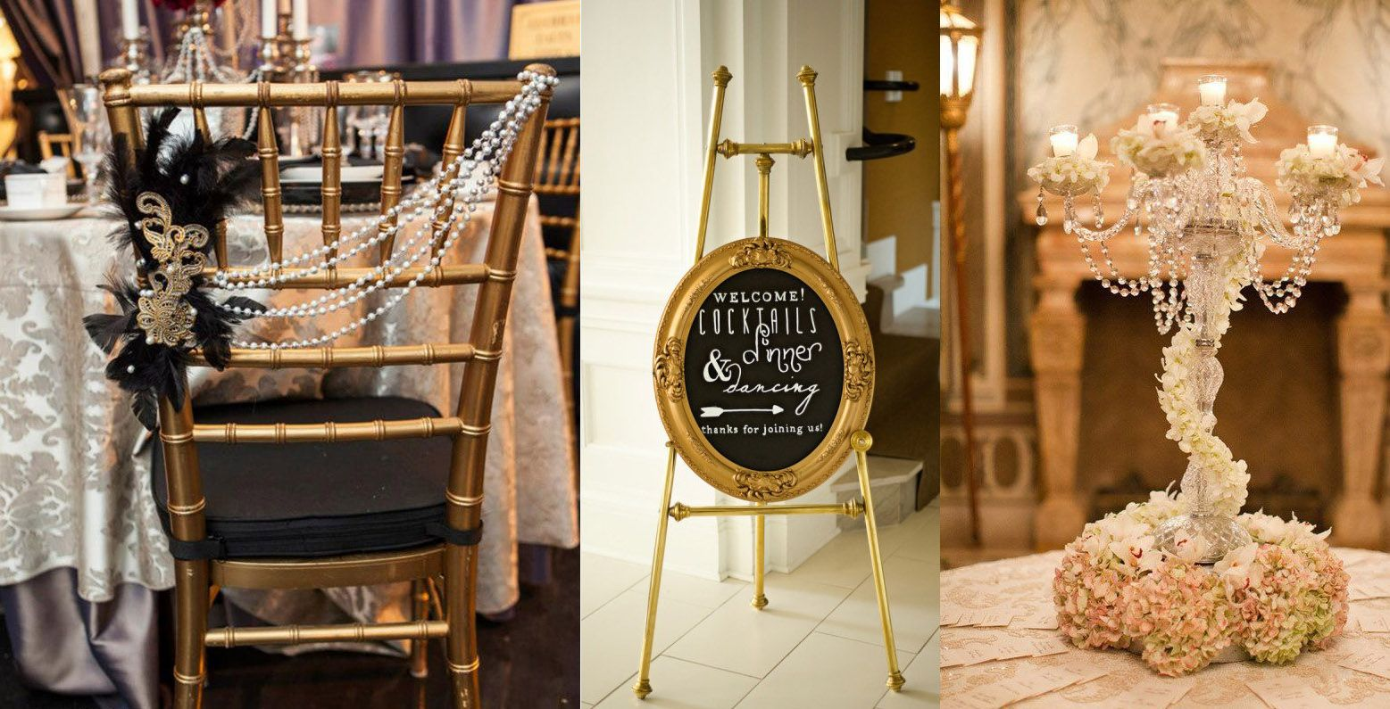 Great Gatsby Wedding Styling From Gold Chiavari Chairs