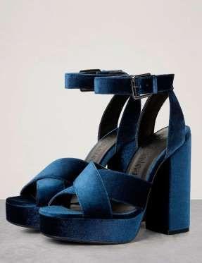 En Color Azul Sandalias Plataforma Y De Terciopelo Eléctrico 7g6Ybyfv