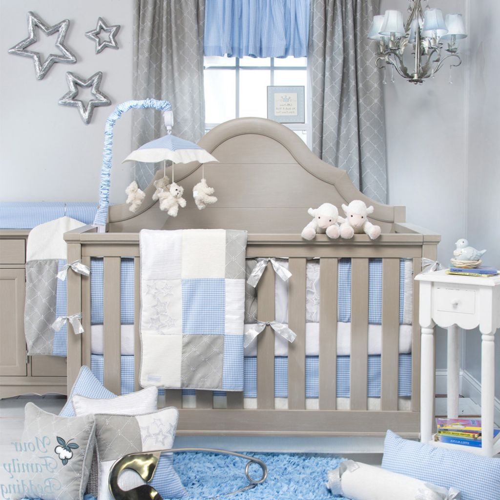 Tasteful Baby Blue And Grey Nursery Room With Grey Crib Combined