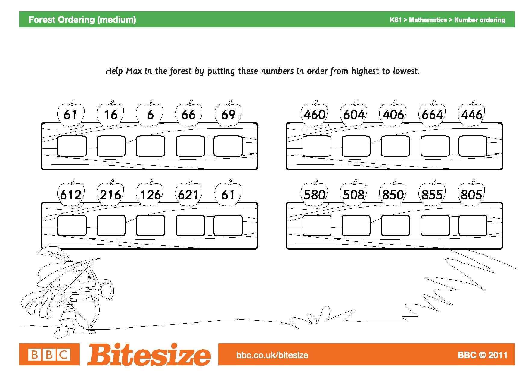 Worksheet Forest Ordering Medium Page 001