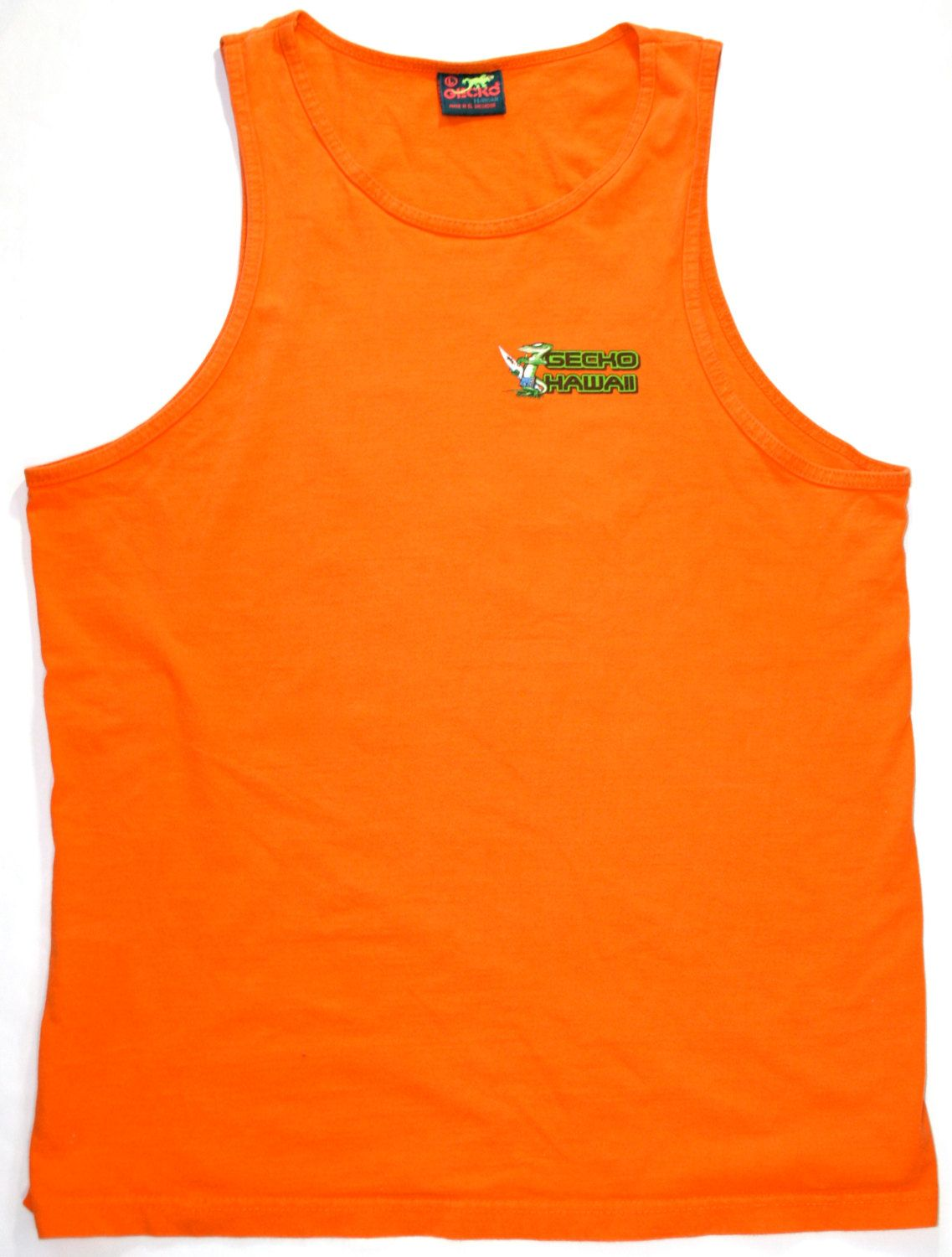 6593a573bda13b Vintage Early 90s Orange Gecko Hawaii Mens Tank Top Size Large.  20.00
