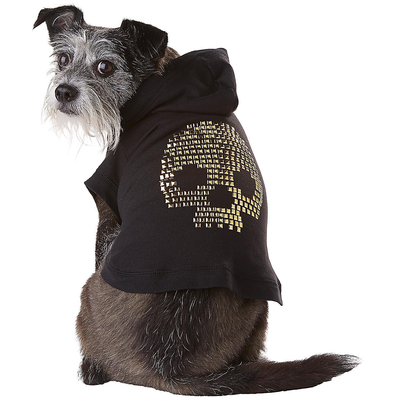 Petco Wag-a-tude Studded Skull Dog Hoodie