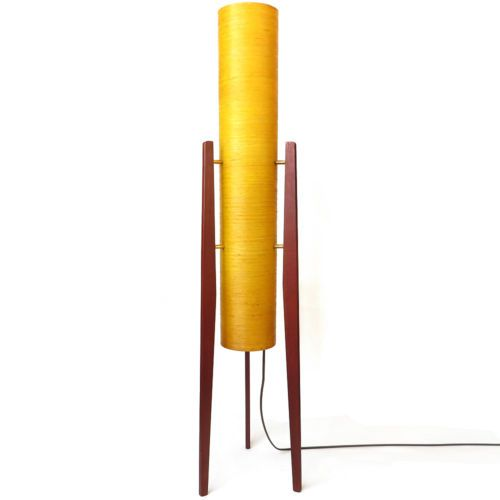 A Fine Vintage Retro 60s 70s Rocket Floor Lamp Light Teak Orange