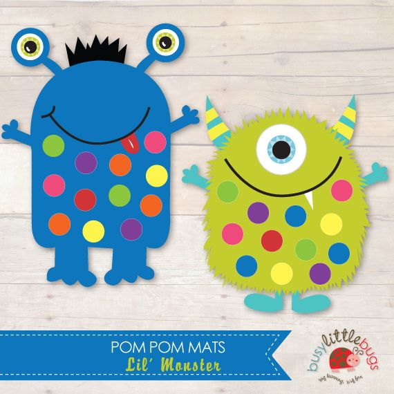 LIL MONSTER POM POM MATS Fine Motor Skills by Busy Little Bugs
