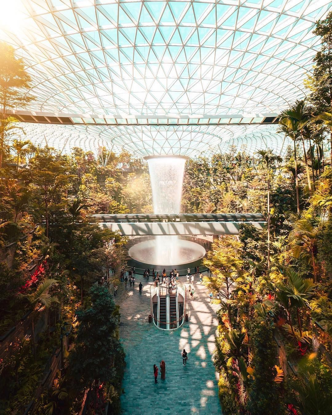 The Rain Vortex At The Center Of The Jewel Changi Airport In