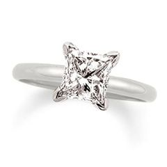 2 CT Princess Cut Certified Diamond Solitaire Engagement Ring in