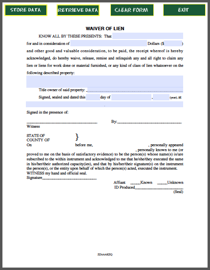 Waiver Of Lien Certificate Template  Template