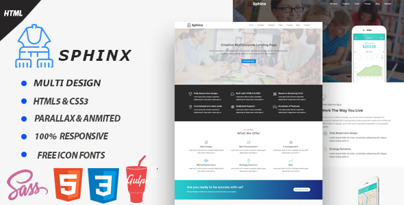 Sphinx One Page Multipurpose  WebsiteTemplates