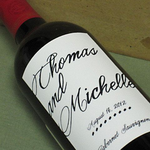 Custom Wedding Wine Labels Personalized With Elegant Script