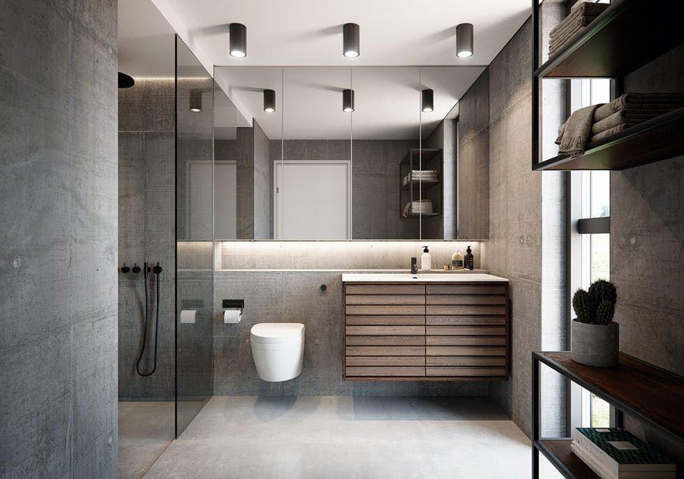 Photo of Grafiske linjer på badet. Skap et eksklusivt, litt dramatisk bad med nyanser av …