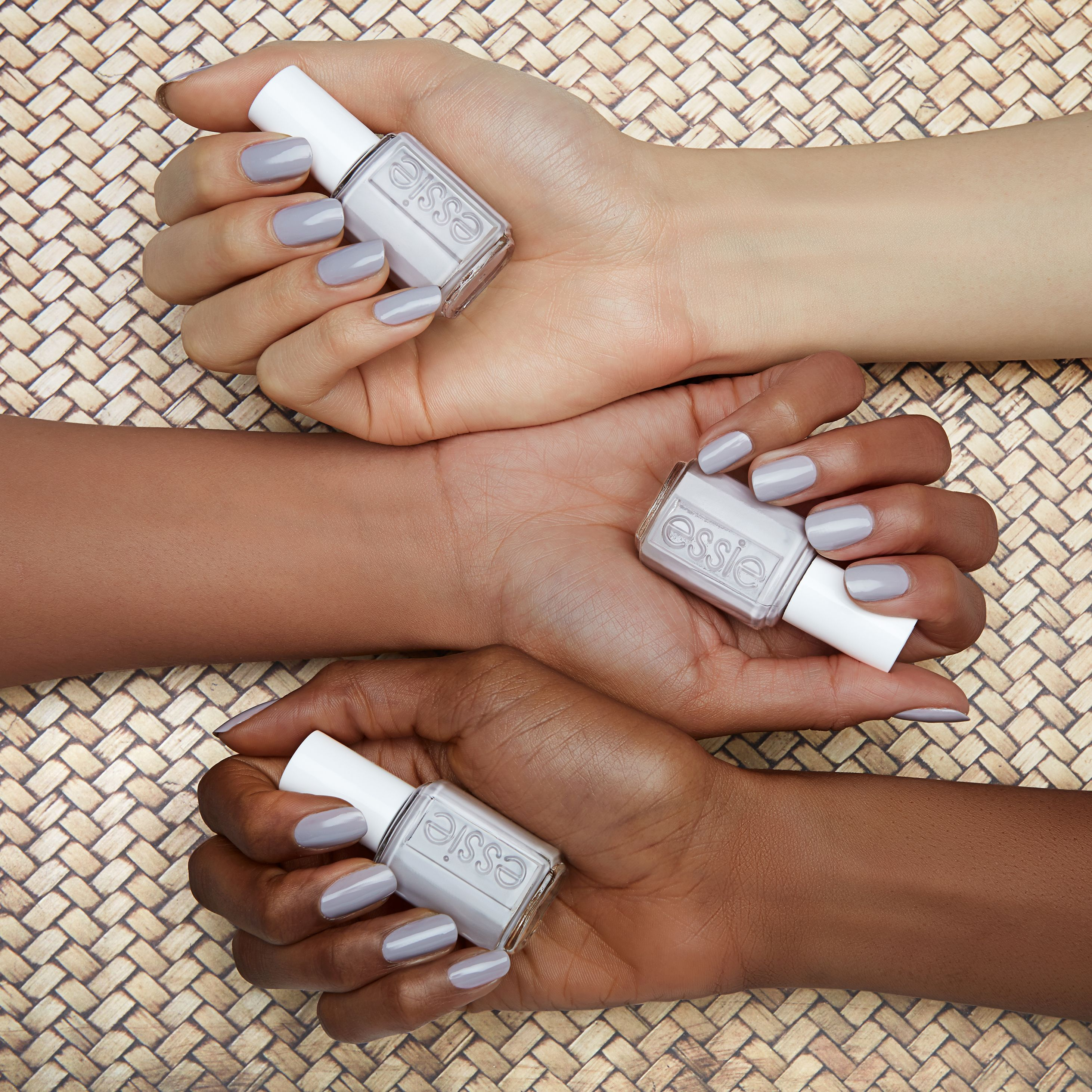 disrobe, disarm and totally charm the pants off one and all in this natural clean light gray. strip down and bare it all in the wildest of nude nail colors for spring. untamed, fierce and sexy, these disarming shades will totally charm the pants off one and all. get ready to expose your nails in our latest collection of essie wild nudes polish -- they look amazing on all skintones.