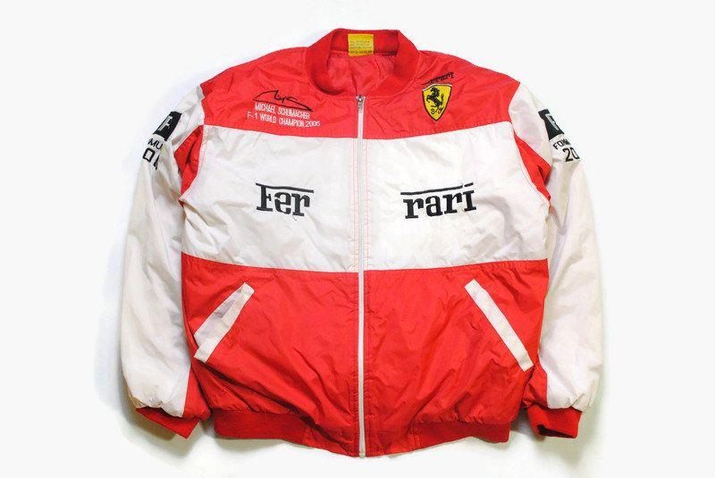 Vintage Ferrari Michael Schumacher Bomber Jacket Size M White Red Authentic Race Team Zip Rare Retro 90s Big Logo F1 Formula 1 Light Coat In 2020 Michael Schumacher Jackets Light Coat