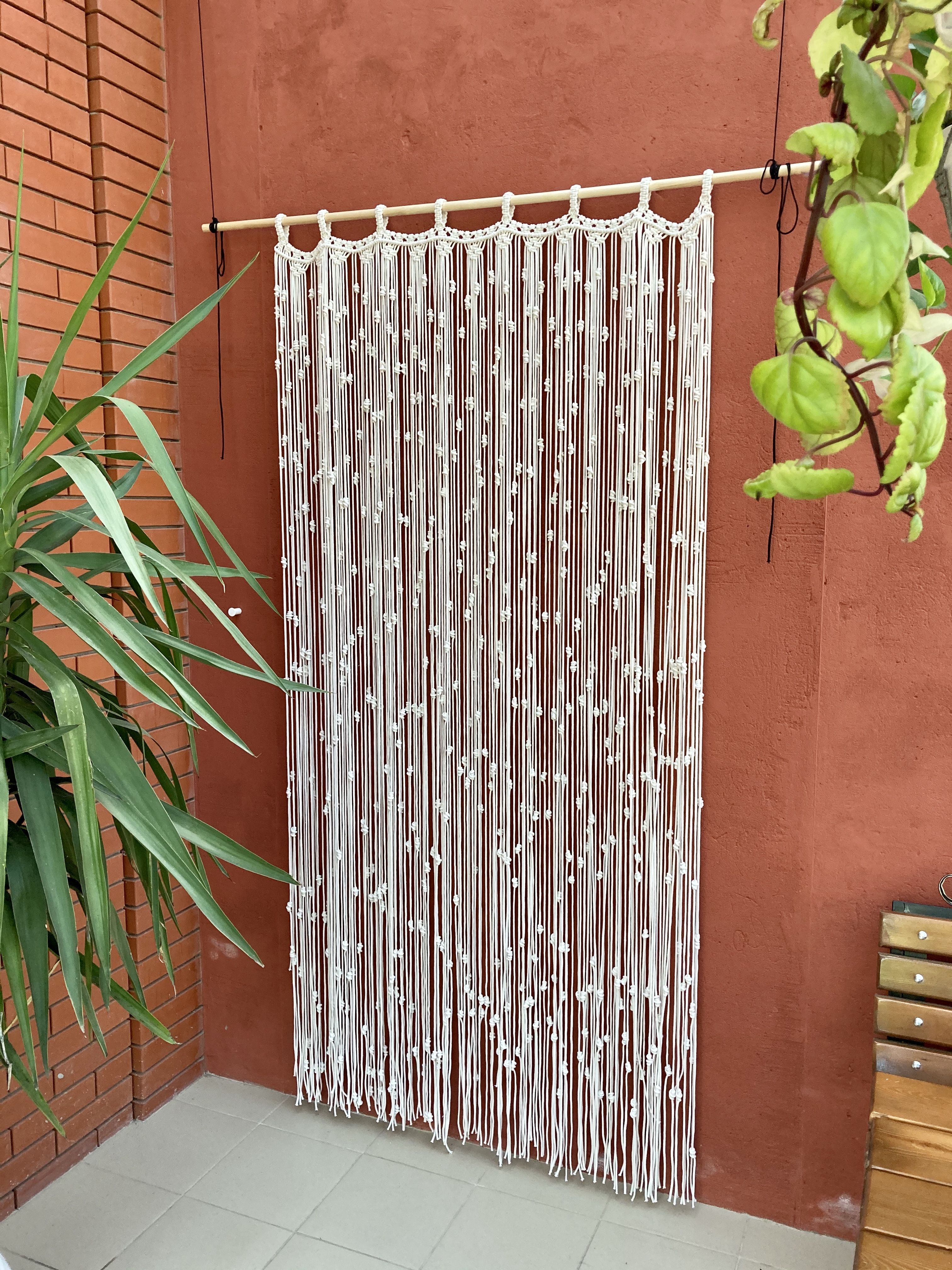 Macrame Boho Curtain,Large Macrame Wall Hanging,Wh