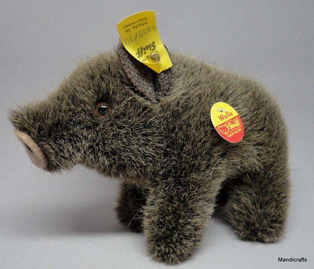 #Steiff Wulle Wild #Boar Woven Fur Plush 10cm 4in ID Button Tags 1978 -90 Vintage