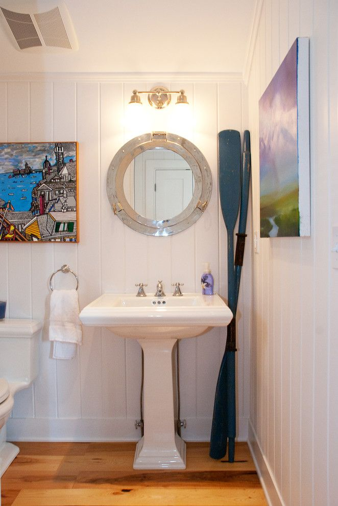 Round Nautical Mirror With Basket Weave Multiuse Mosaic Tiles Bathroom Beach Style And White Siding