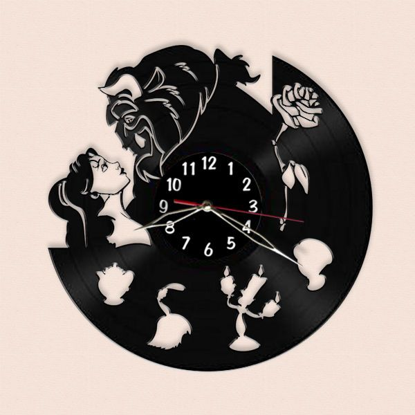 Beauty And The Beast Wall Clock Made Of Vinyl Record 12 30cm In Home Garden Home Decor Clocks Ebay How To Make Wall Clock Vinyl Record Crafts Clock