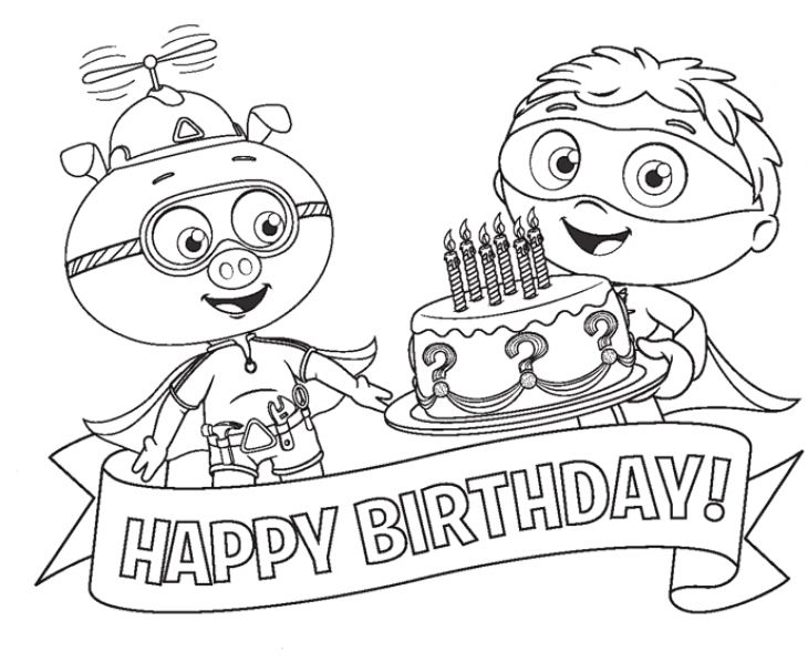alpha pig and super why happy birthday coloring page to print for kids - Coloring Stuff To Print