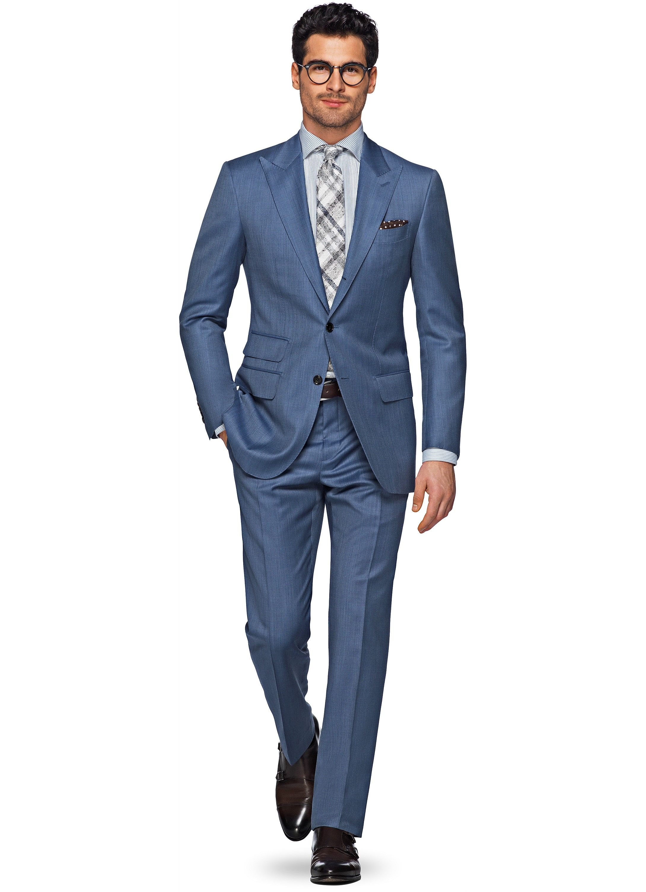 Suit Blue Plain Washington P4873 | Suitsupply Online Store | 1 Férfi ...