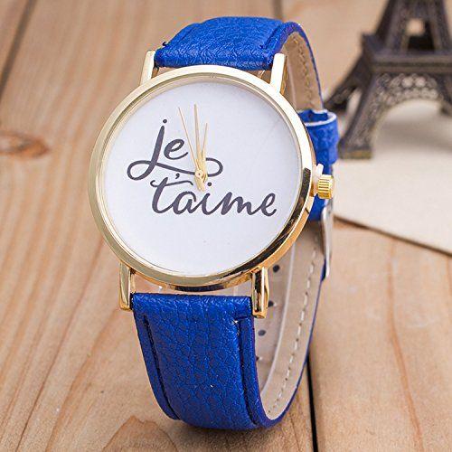 Vintage JETAIME Damen Armbanduhr Basel-Stil Quarzuhr Lederarmband Uhr Blau - http://uhr.haus/better-dealz/blau-vintage-jetaime-damen-armbanduhr-basel-stil