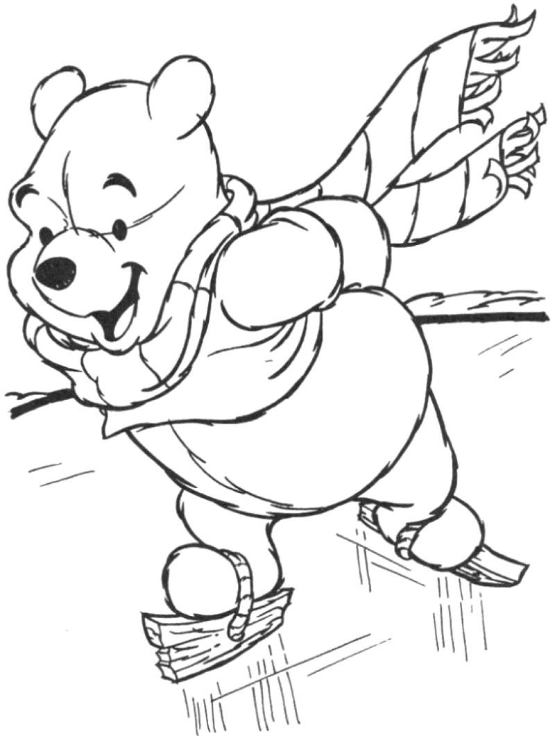 Colouring sheets winter - Winnie The Pooh Skating Winter Coloring Page