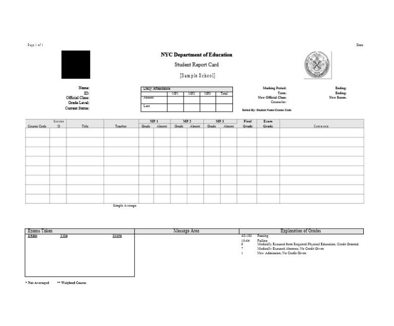 Fake Report Card Template 7 Templates Example Templates Example