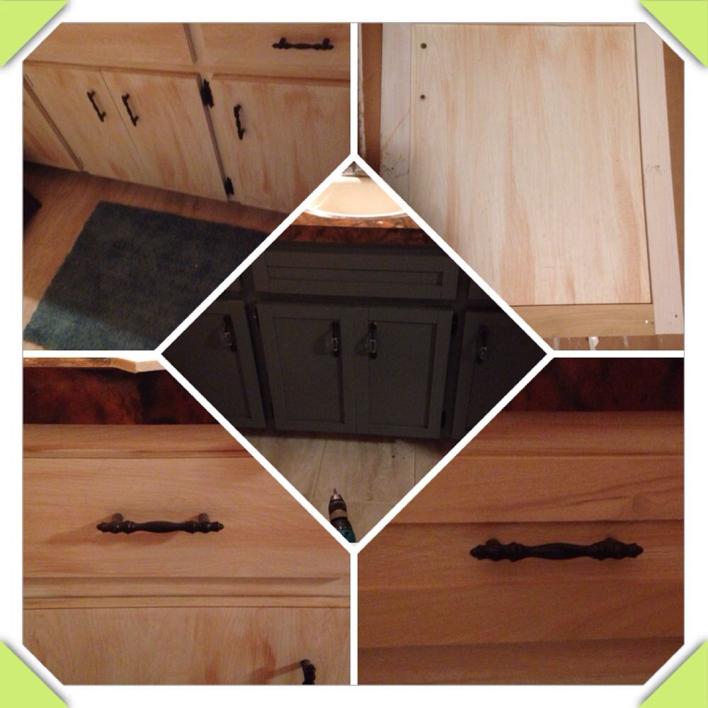 Adding wood trim and painting old Formica cabinets to give them a new shaker style look