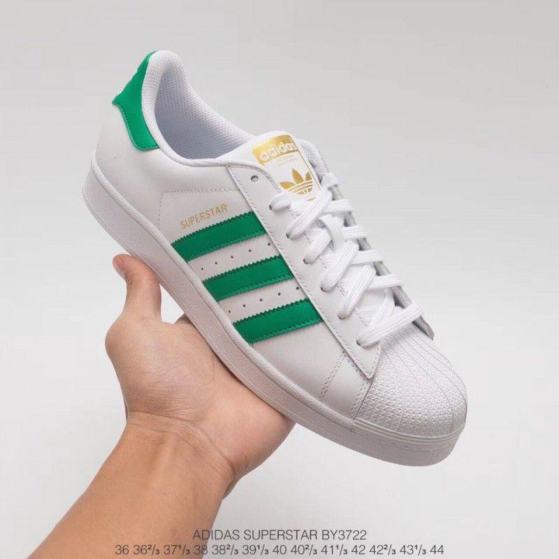 Adidas Superstar White Green Stripes